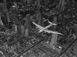 Aerial View of a DC-4 Passenger Plane Flying over Midtown Manhattan by Margaret Bourke-White