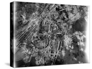 Aerial View of Crater-Riddle Railroad Junction at Bad Oldosloe after Allied Air Attack Nr. Lubeck by Margaret Bourke-White