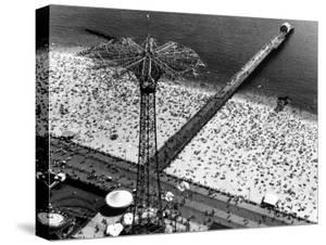 Aerial View of Parachute Jump Ride, Beach and Boardwalk at Coney Island by Margaret Bourke-White