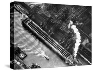 Aerial View of Pittsburgh Steamship Co. Ship Carrying Ore to Us Steel Plant by Margaret Bourke-White