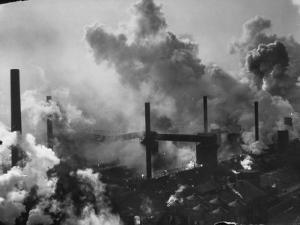 Aerial View of Smoke and Smokestacks at Us Steel Plant by Margaret Bourke-White