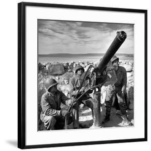 Air Force Soldiers Manning Anti Aircraft Gun at Base During Allied Campaign in North Africa, WWII by Margaret Bourke-White
