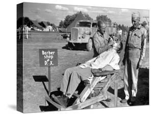 American Quartermaster Corpsman John Ralford, Designer of th Wooden Barber Chair by Margaret Bourke-White