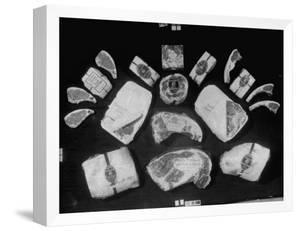 Array of Packaged Swift Meats Including Steaks, Pork Chops, Leg of Lamb and Others by Margaret Bourke-White