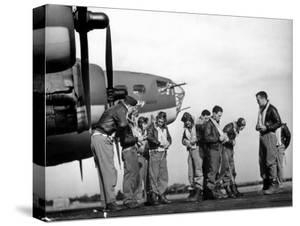 B-17 Flying Fortress Crew of 8th Bomber Command Donning Their Flying Gear Upon Arrival by Jeep by Margaret Bourke-White