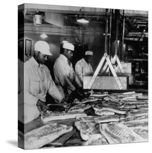 Butchers Trimming Pork Bellies for Bacon at Swift Meat Packing Packington Plant by Margaret Bourke-White