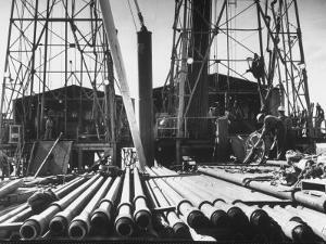 California Oil Co. Drilling Operations on Derrick Off Louisiana Coast by Margaret Bourke-White