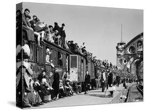 Civilans Packing onto Overcrowded Train in Postwar Berlin by Margaret Bourke-White