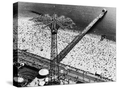 Coney Island Parachute Jump Aerial and Beach. Coney Island, Brooklyn, New York. 1951