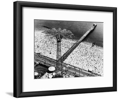 Coney Island Parachute Jump Aerial and Beach. Coney Island, Brooklyn, New York. 1951