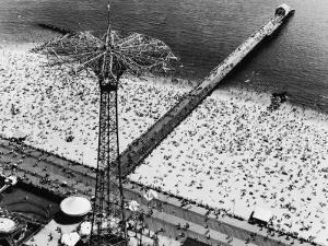Coney Island Parachute Jump Aerial and Beach. Coney Island, Brooklyn, New York. 1951 by Margaret Bourke-White