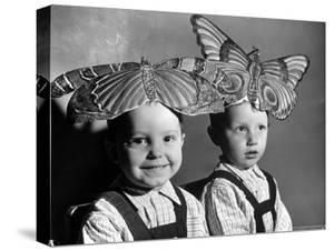 Darling Russian Kindergarten Children Wearing Paper Butterflies by Margaret Bourke-White