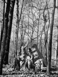 Dr. Liane Russell Camping with Husband Bill and Children in Woods Near their Home by Margaret Bourke-White