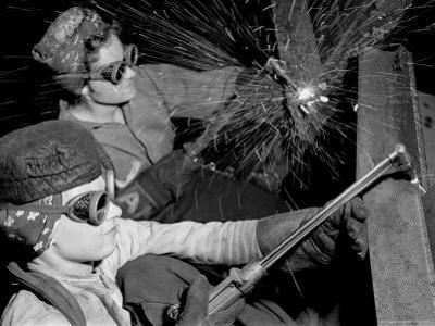 Female Welders at Work in a Steel Mill, Replacing Men Called to Duty During World War II