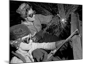 Female Welders at Work in a Steel Mill, Replacing Men Called to Duty During World War II by Margaret Bourke-White