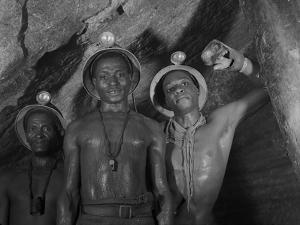 Gold Miners in Robinson Deep Diamond Mine Tunnel, Johannesburg, South Africa, 1950 by Margaret Bourke-White