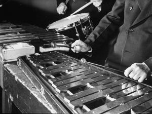Hands of Percussionists Sam Borodkin Playing the Share Drum and Albert Rich Playing the Xylophone by Margaret Bourke-White