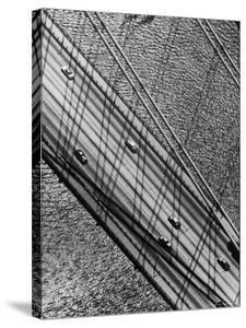 Helicopter View Looking Down on 6 Cars Crossing a Segment of the Whitestone Bridge by Margaret Bourke-White