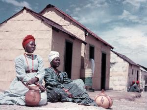 Herero Tribeswomen Wearing Turban and Dangling Earrings, Windhoek, Namibia 1950 by Margaret Bourke-White