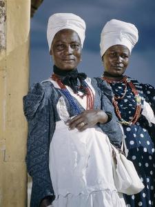 Herero Tribeswomen Wearing Turban and Dangling Earrings, Windhoek, Namibia 1952 by Margaret Bourke-White