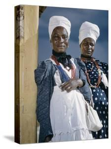Herero Tribeswomen Wearing Turban and Dangling Earrings, Windhoek, Namibia 1952 by Margaret Bourke-White