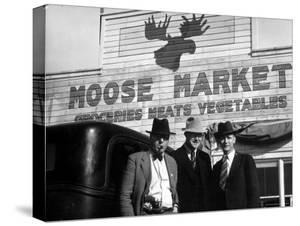 Lawman Frank Branik, Realtor Walt Wilson and Publisher Jerry Reinerston, Moose Market Grocery Store by Margaret Bourke-White