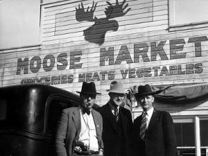 Lawman Frank Branik, Realtor Walt Wilson and Publisher Jerry Reinerston, Moose Market Grocery Store by Margaret Bourke-White