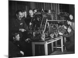 Locomotive Named Stalin is Studied at the Locomotive Laboratory of the Technical Institute by Margaret Bourke-White