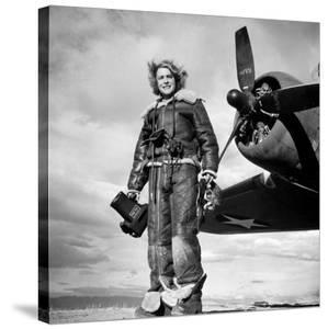 Margaret Bourke-White in Flight Suit, Holding Aerial Camera in Front of Flying Fortress Bomber by Margaret Bourke-White