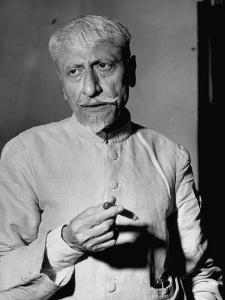 Maulana Azad, Moslem Head of India's Congress Party, Holding a Lit Cigar by Margaret Bourke-White