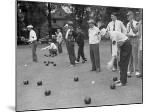Members of St. Mary's Society Club Play the Italian Game of Bocce on their Court Behind the Club by Margaret Bourke-White