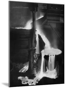 """Molten Steel Cascading in Otis Steel Mill in Historic """"Pouring the Heat"""" Photo by Margaret Bourke-White"""