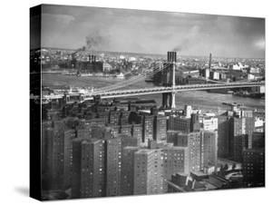 New Housing Project with the Manhattan Bridge in the Bckgrd. on the East Side of the City by Margaret Bourke-White