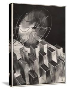 Newly Molded Gold Bars Being Cooled by Fan in the Us Assay Office by Margaret Bourke-White