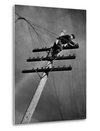 NY Telephone Co. Lineman Wallace Burdick Repairs Telephone Lines Between Valhalla and Brewster
