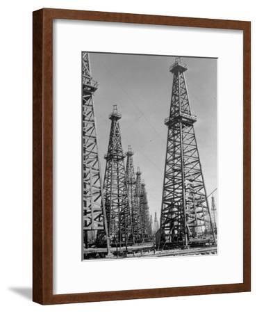 Oil Well Rigs in a Texaco Oil Field
