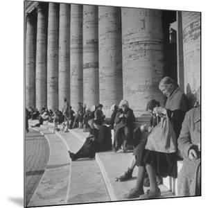 Old Italian Women Knitting While They Socialize in the Colonade of St. Peter's Square, Vatican City by Margaret Bourke-White