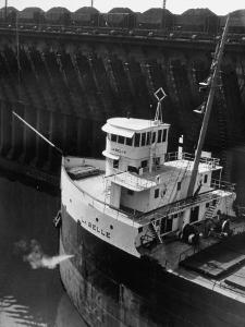 Ore Carrier La Belle Arriving to Take on Cargo of Ore in the Great Lakes by Margaret Bourke-White
