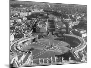 Panaromic View of Rome from Atop St. Peter's Basilica Looking Down on St. Peter's Square by Margaret Bourke-White