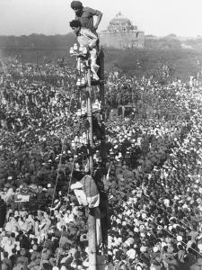 People Watching Mohandas K. Gandhi's Funeral from Tower by Margaret Bourke-White
