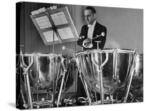 Percussionist Saul Goodman Playing the Tympani in the New York Philharmonic by Margaret Bourke-White