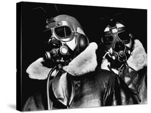 Pilots of American Bomber Command Wearing High Altitude Clothes, Oxygen Masks and Flight Goggles by Margaret Bourke-White