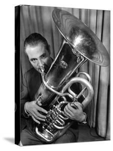 Portrait of Vincent Vanni, Playing the Tuba in the New York Philharmonic by Margaret Bourke-White
