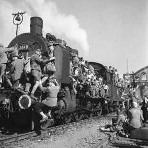 Post WWII German Refugees and Displaced Persons Crowding Every Square Inch of Train Leaving Berlin by Margaret Bourke-White