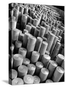 Rolls of Kraft Paper to Be Made into Paper Sacks Sit Stacked in the Union Bag and Paper Corp. Plant by Margaret Bourke-White