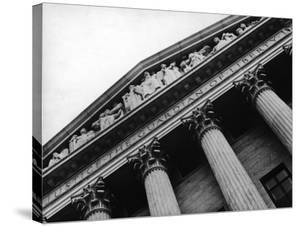 """Sculpted Frieze reads """"Justice the Guardian of Liberty"""" at entrance of the Supreme Court Building by Margaret Bourke-White"""