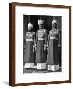Servants of British Lord Archibald Wavell, Viceroy of India, in Scarlet and Gold Uniforms by Margaret Bourke-White