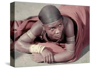 Tembu Miner Wearing Red Ochre Dyed Blanket Awaits Medial Check, Johannesburg, South Africa 1950 by Margaret Bourke-White