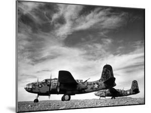 Two Camouflaged A-20 Attack Planes Sitting on Airstrip at American Desert Air Base, WWII by Margaret Bourke-White
