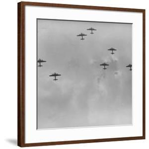 US 8th Bomber Command B-17 Flying Fortress Bombers Getting Into Formation by Margaret Bourke-White